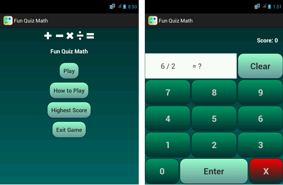 Pilihan menu dan gameplay fun quiz math