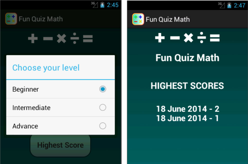pilihan level dan skoring fun quiz math