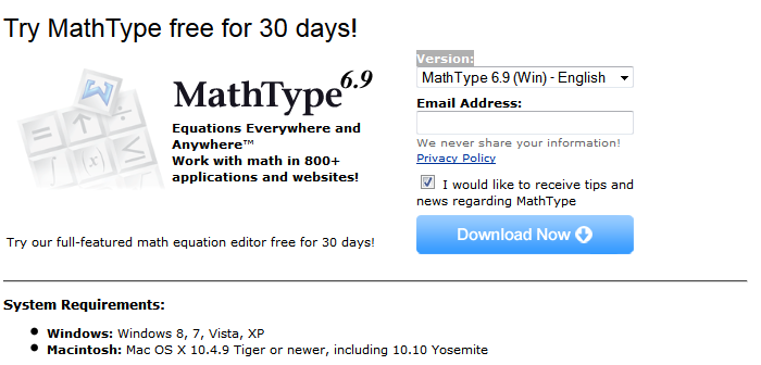 MathType 30-Day Trial