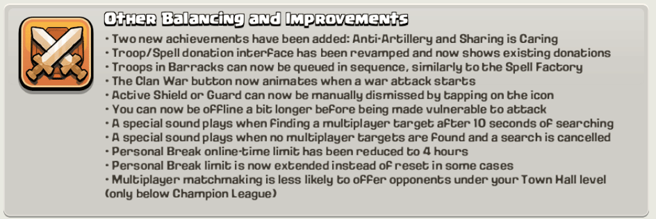 new improvements