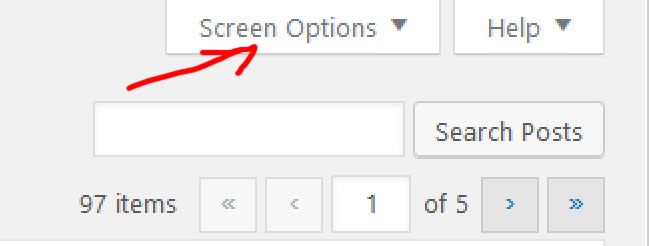 panel screen options