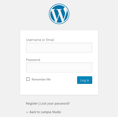 tampilan login admin wordpress