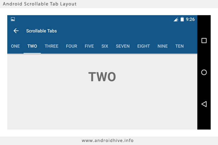 Tab layout mode scrollable dalam landscape