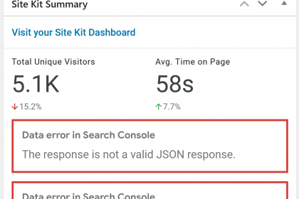 Google Site Kit The response is not a valid JSON response
